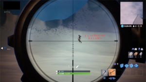 スナイパーライフルで敵がジャンプしたところを狙う