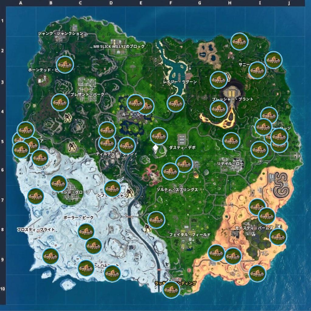 マップ 焚き火の位置