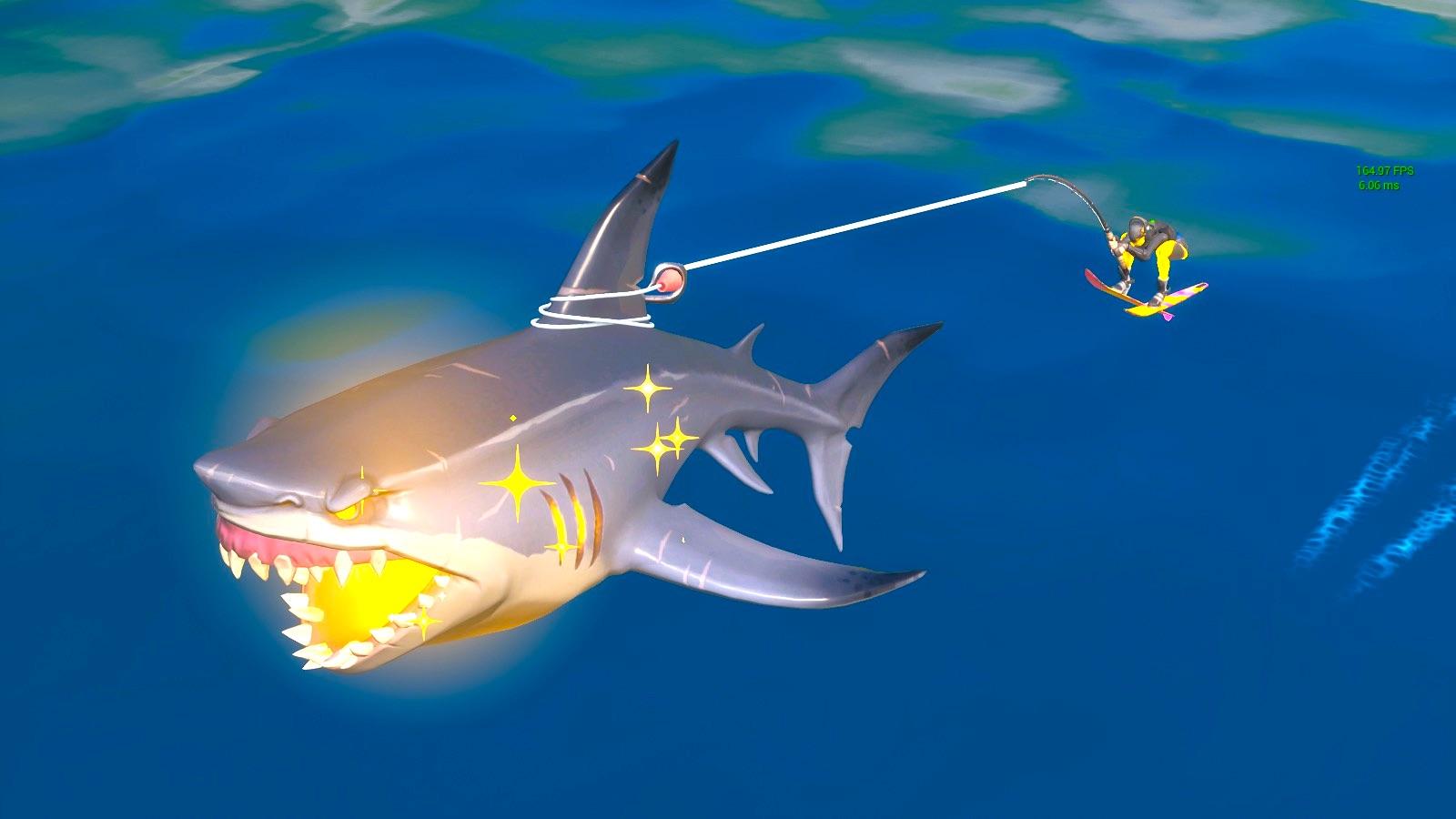 サメに乗る